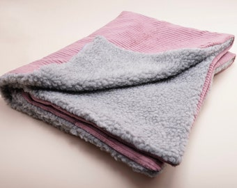 Dog blanket made of corduroy old pink different sizes
