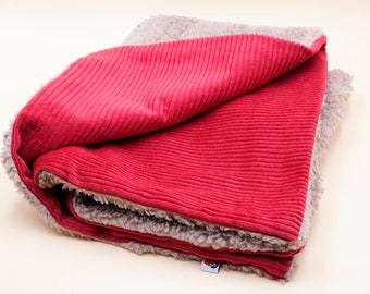 Dog blanket made of corduroy and teddy plush red beige