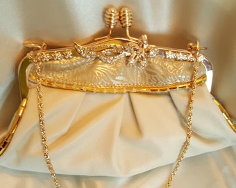 Elegant Leather Bridal Clutch - Off White and Gold