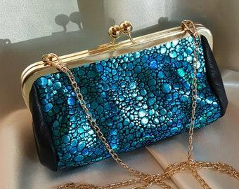 Elegant Turquoise Leather Boho Clutch