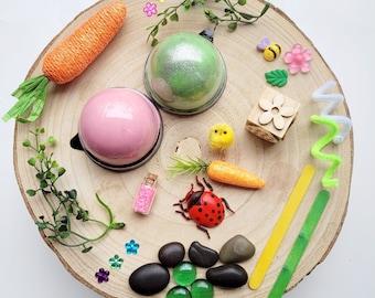 Playdough sensory kit   Busy box   Spring sensory kit   Easter sensory bin   Loose parts play   kids gifts   gift ideas   Homemade playdough