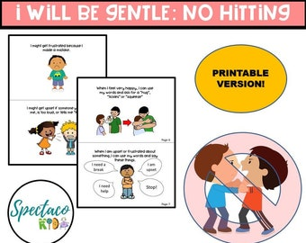 A Social Story for Autism and Behavior Management, No Hitting, self regulation in kids, toddler book, busy book, learning binder PRINTABLE