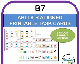 ABLLS-R Aligned B7 Fluent Matching task cards, identical pictures to sample, autism assessment, Matching task cards, autism resources