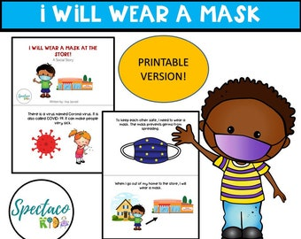 Wearing a mask, pandemic, covid19,  A Social Story for Autism and Behavior Management DIGITAL DOWNLOAD, toddler book, PRINTABLE