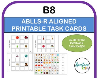 ABLLS-R Aligned B8 sort non identical items task cards, pictures to sample, autism assessment, Matching task cards, autism resources