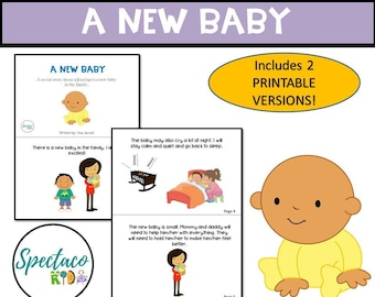 New Baby, A Social Story for Autism and Behavior Management DIGITAL DOWNLOAD, toddler book, Life skills, special needs resource, PRINTABLE
