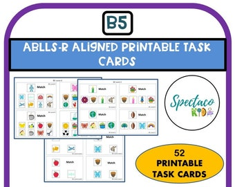 ABLLS-R Aligned B5 Matching task cards, identical pictures to sample, autism assessment, ABLLS-R, Matching task cards, autism resources