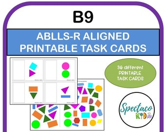 ABLLS-R Aligned B9 block designs on picture cards task cards, pictures to sample, autism assessment, Matching task cards, autism resources