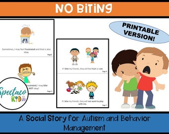 No Biting A Social Story for Autism and Behavior Management and Classroom management, Printable digital download, social narrative for kids