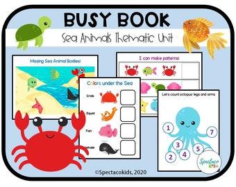 Sea Animal Printable Toddler Busy Book   Sorting and Matching   Learning Binder Worksheets Homeschool, Quiet Workbook, Preschool, Pre-K