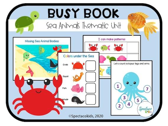 Sea Animal Printable Toddler Busy Book  Sorting and Matching