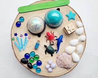 Playdough sensory kit   Busy box   Sea animal sensory kit   sensory bin   Loose parts play   kids gifts   gift ideas   Homemade playdough
