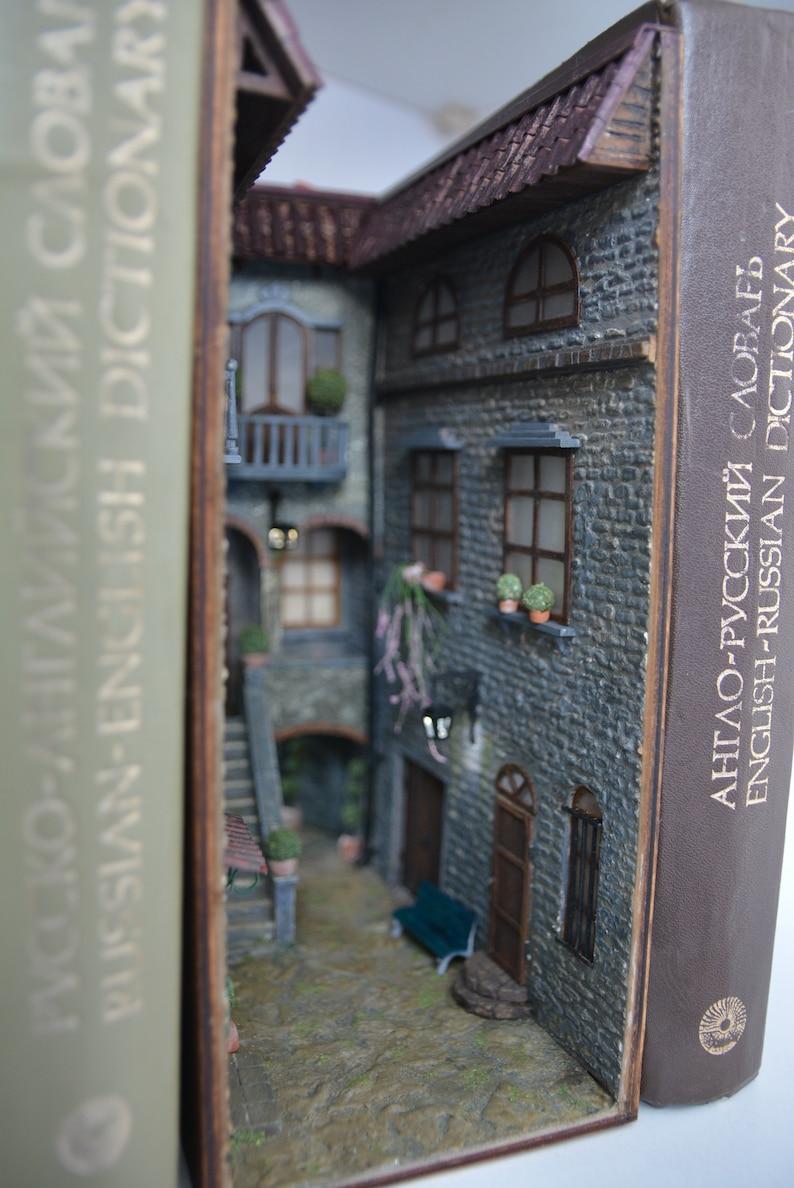 Book nook bookshelf insert art Hidden world of old Italy patio image 0