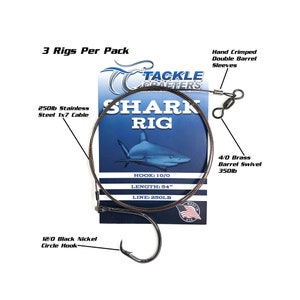 3 PACK Made in USA Shark Rig Circle Hook Saltwater Fishing Gear and Tackle