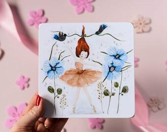 Ballerina illustration on wood. Girl nursery. Cute wall decoration. Ballet dancer with flowers. Ballet gift. Ballerina wall decor.