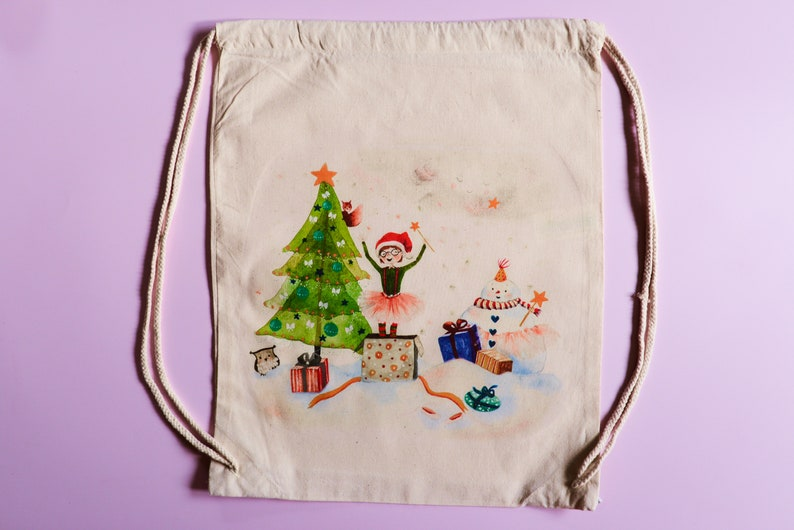 Drawstring backpack Christmas bag Christmas gift. Christmas present Ballerina gift Gym /& dance bag Ballerina christmas gift bag