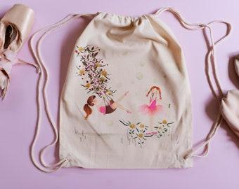 Ballerina backpack: Happy ballerinas. Gym & dance bag. Pink. Drawstring backpack (37 x 45 cm)