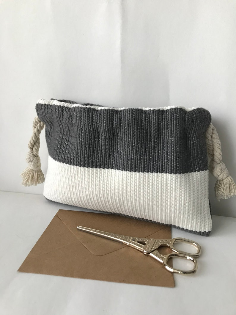 Small soft drawstring bag  Olefin Stripe bag  Accessories boho phone bag  charger bag cute makeup pouch hippie gray white ring bag