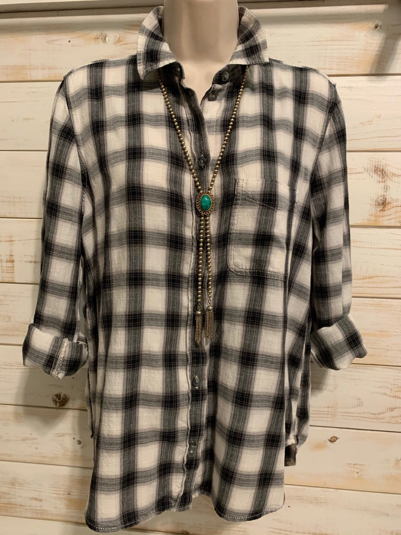 long sleeve button up size medium Women\u2019s one of a kind repurposed flannel shirt with Lacey skull T-shirt graphic on the back