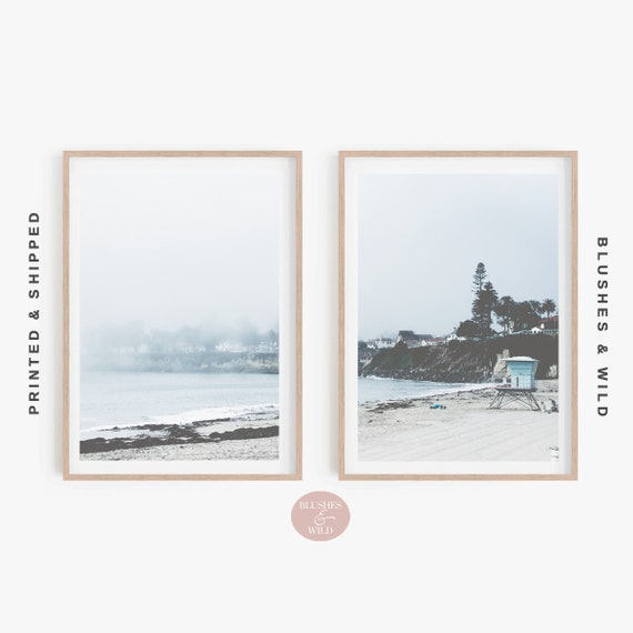 Set of 2 Beach Prints, Coastal Wall Art, Prints 57 58, Set of Two Bathroom Prints, Beach Hut Decor, Pastel Artwork, Nautical Photography