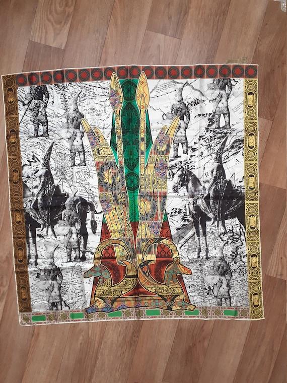 EMPIRE Kazakhstan scarf. Vintage square silk scarf