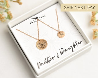 Mother Daughter Necklace Set, Mother Daughter Jewelry, Dandelion Necklace, Mother Daughter Dandelion Necklace, Mother Daughter Gifts,