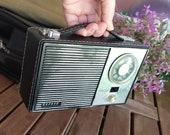Vintage 60 39 s Radio, Vintage working radio, Radio Transistor, Vintage, Collector Radio, retro Decor, 60s, AM FM Radio, original leather case