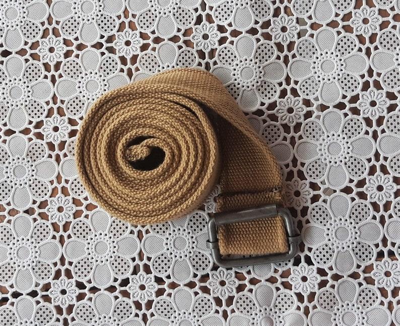 90/'s Adjustable BeigeKhaki Unisex Belt Canvas with metall buckle Webbing Belt Cotton Thick Canvas Cotton Ladies Mens Gift