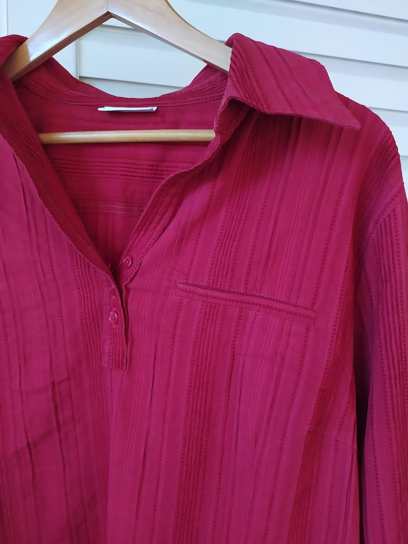 Plus size Dark Red Blouse Vintage 00s with Half Sleeves Button Down V Neck Shirt with Small Pocket in the Left Blouse XL for Maternity