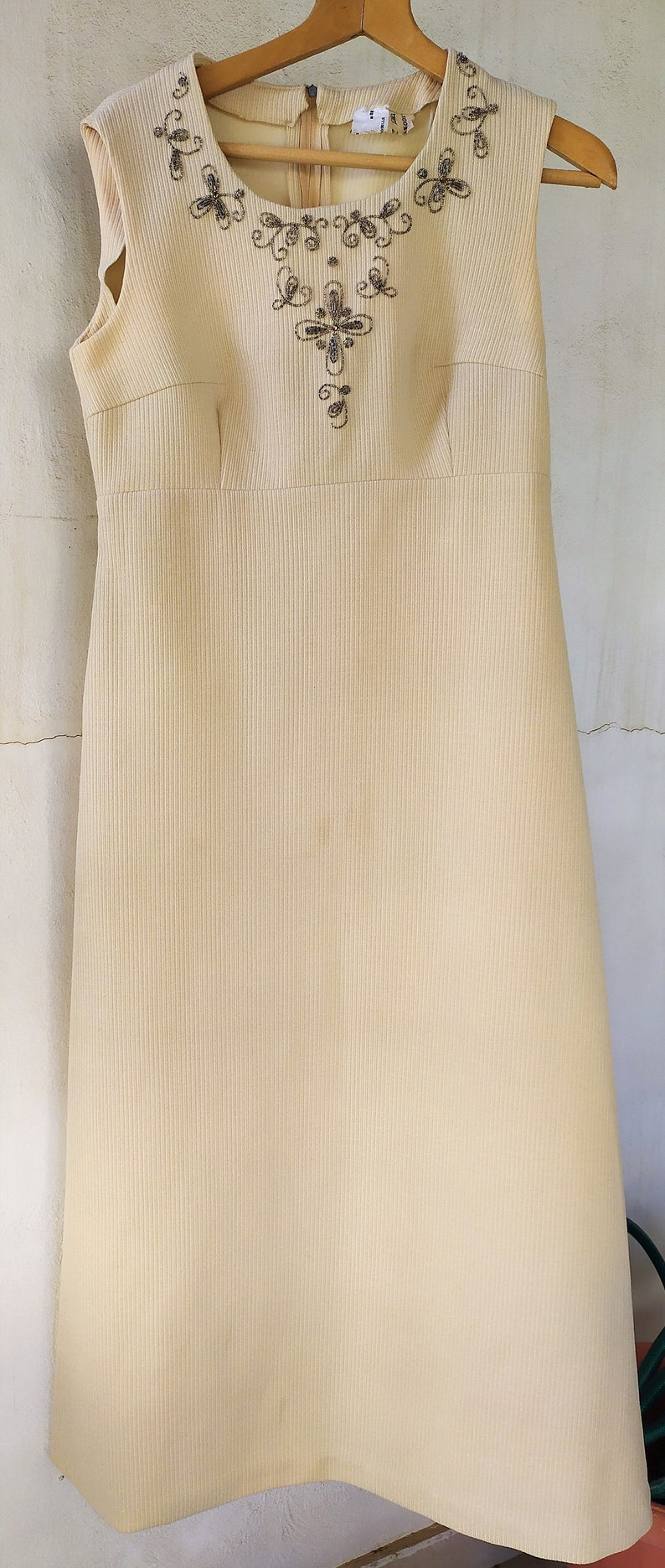 Long Beige Dress 70/'s A-Line Ankle Hem Length Sleeveless Decorated with Beads Retro style Vintage Women/'s Clothing Small size