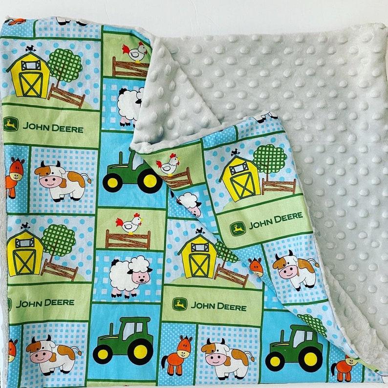 Baby John Deere Blanket, Handmade Minky Blanket, Nursery Decor