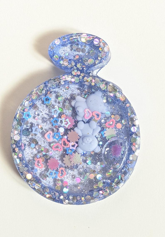 Purple Teddy Bear Shaker Resin Keychain