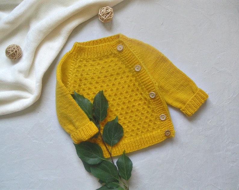 Handmade baby cardigan,sweater kids,yellow kids cardigan,baby handmade cardigan,baby sweater,knitted baby yellow sweater,childrens cardigan