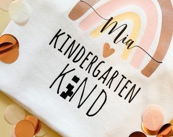 Kids | SHIRT | Nursery + Name + Rainbow | KiGa Shirt | Rainbow | Gift kindergarten child | 100% cotton | Personalizable