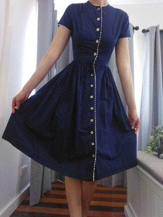 Bobbie Brooks 1950s Navy Vintage Dress - XS