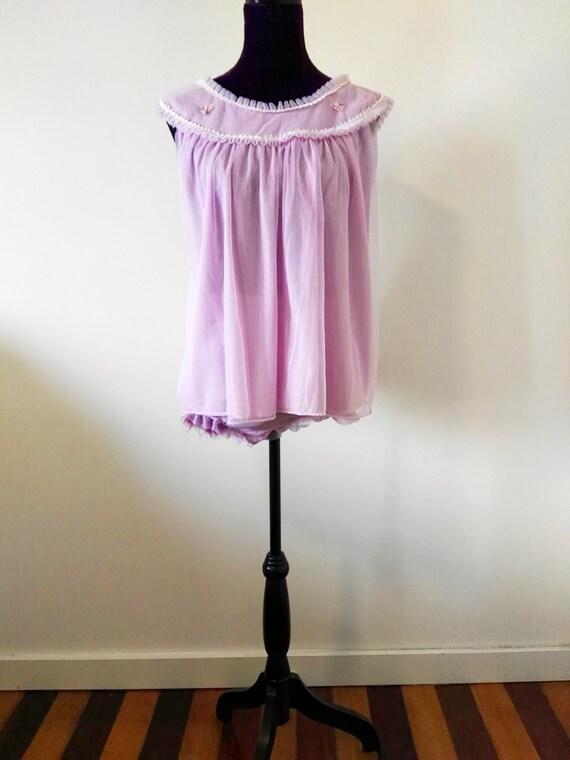 1960s Lavender Pyjama Set- Small - Medium