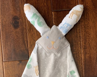 Lovey for Babies, Bunny Lovey, Boy Lovey, Gray Lovey, Baby Lovey, Woodland  Animal Lovey, Baby Gift, Dou dou, Baby Toy, Cuddle Soft Lovey,