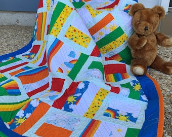 Primary block quilt, Handmade baby quilt, Small child play quilt, Tummy time blanket, Travel blanket, Play quilt, Baby shower gift