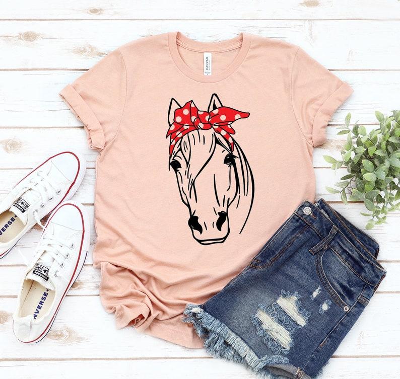 Horse Bandana T-shirt Cowboy T-shirt Farm Shirt Horseback Riding T-shirt Horse Lover Tshirt Equestrian Shirt Gift For Horse Owner