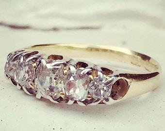 Antique Old Cushion Cut Diamond Wedding Ring Band   CERTIFIED   Half Hoop Diamond   Diamond Eternity   18k Solid Gold Ring   Stack Ring