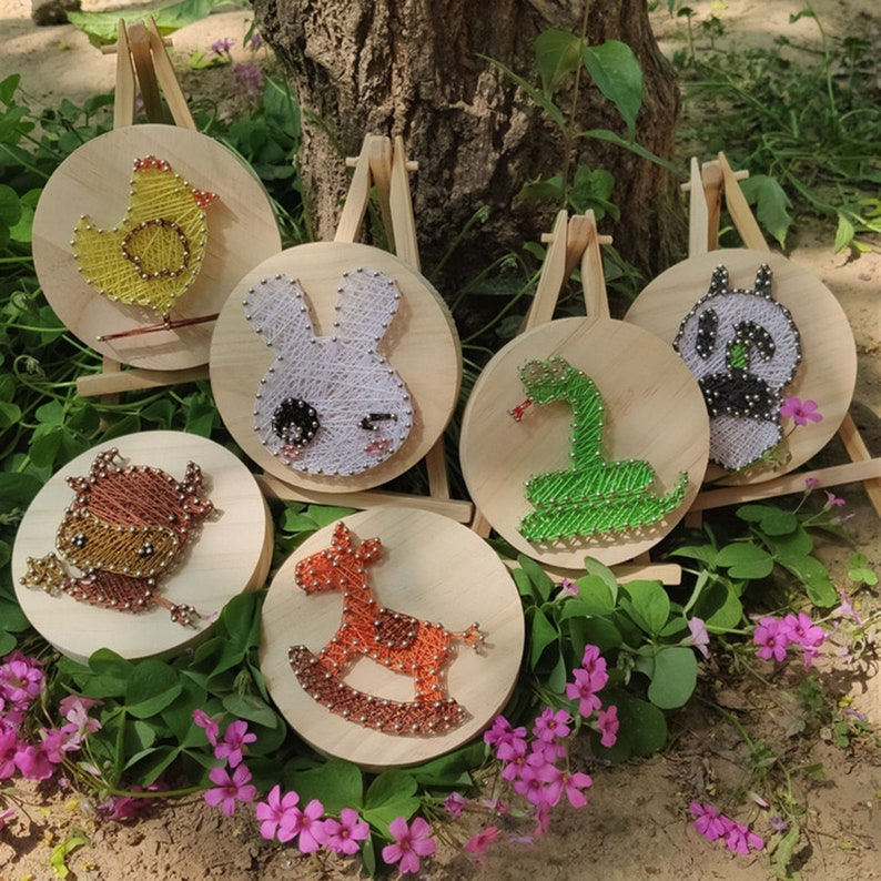 Small animal string art,Wall Hanging Art,Crafts for Kids and Fun Home Activities,FAMILY String Art PATTERN,String art pattern kit,Crafts Kit