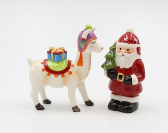 Handcrafted Sterling Silver Set 1.75 Tall Vintage Silver Peruvian Salt /& Pepper Shakers with Llama and Figure Appliques