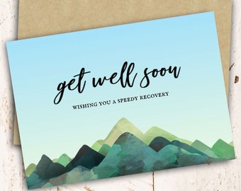 Printable Get Well Soon Downloadable Card, Get Well Soon Greeting Card - Instant Digital/Printable DOWNLOAD