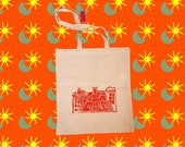 Hand-printed orange quot city quot tote-bag