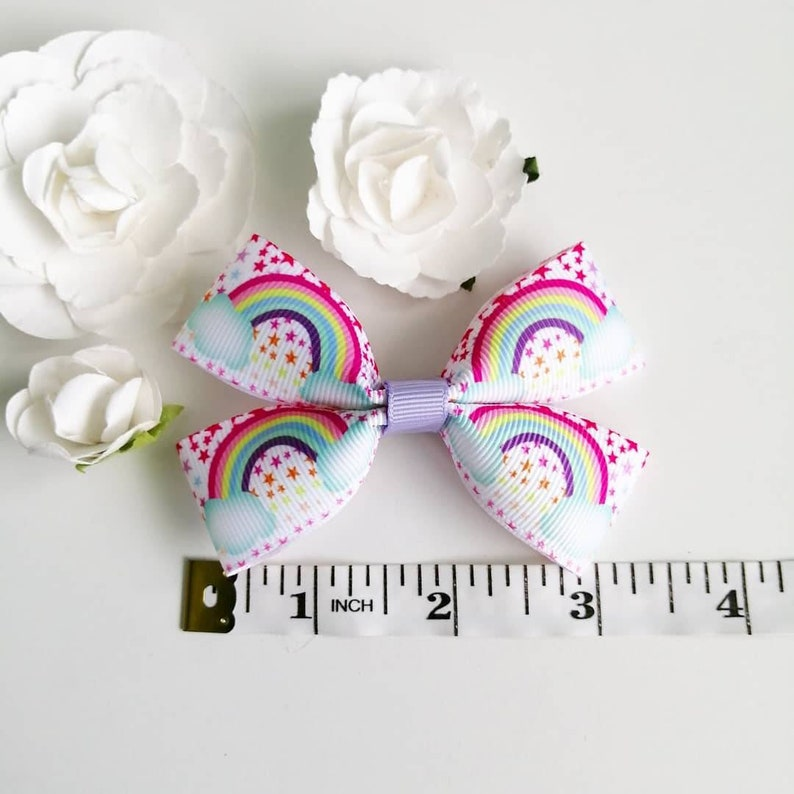 Rainbow Bow Girls Party Favours Girls Pigtail Bows Lilac Bow Girls Hair Bows Purple Bow