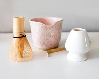 Matcha Set - Whisk - Ceramic Holder Stand - Ceramic Matcha Bowl with Spout - Gift Set - Coffee - Tea