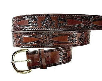 ROJ KING MIRTH SHRINERS FRATERNAL MASONIC LEATHER BELT /& BUCKLE