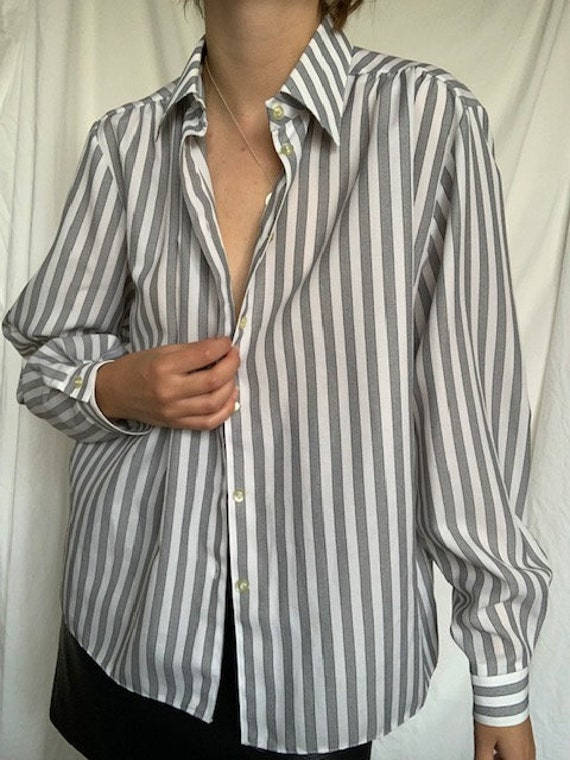 Vintage 1960's classic grey white striped every d… - image 2