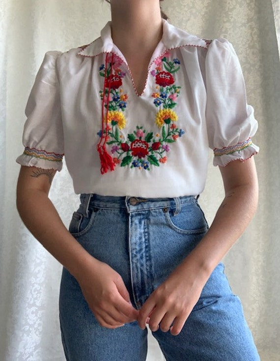 Vintage 1970s hand embroidered COTTON Hungarian b… - image 2