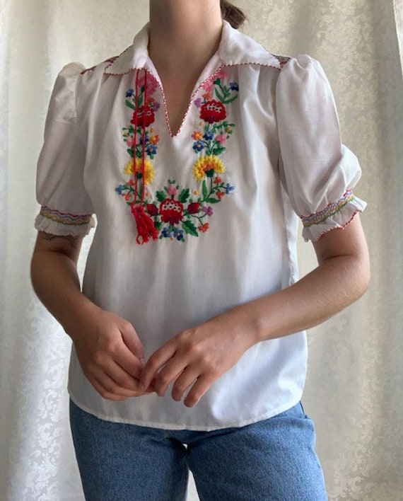 Vintage 1970s hand embroidered COTTON Hungarian b… - image 3